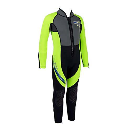 IST WSK-80 Kids 3mm Full Length Wetsuit with Super Stretch Panels (Neon Yellow, Small) Super Stretch Full Wetsuit