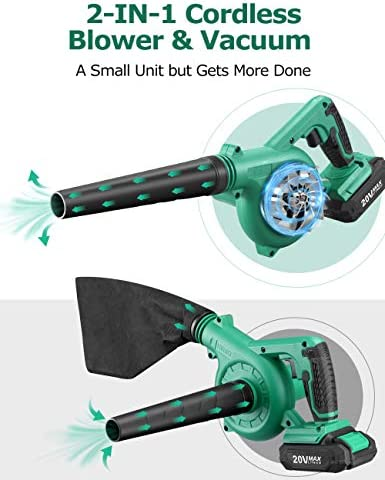 KIMO Cordless Leaf Blower, 2-in-1 Handheld Vacuum/Sweeper, 150 MPH, Variable Speed, w/2.0 Ah Li-ion Battery & Charger, for Blowing Leaf/Snow, Dusting