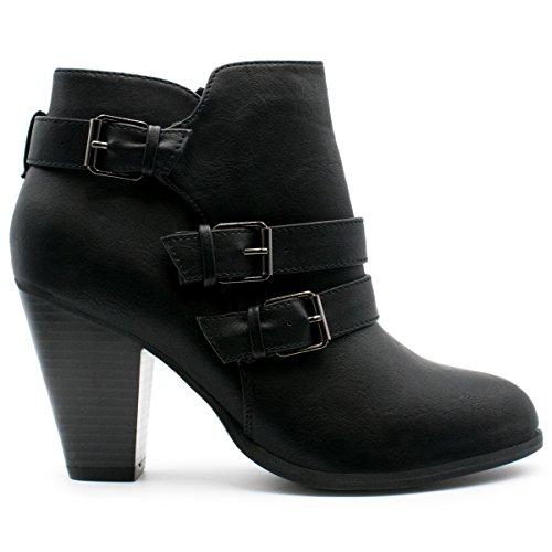 Forever Frauen Schnalle Block Block Heel Ankle Booties Premier Schwarz *