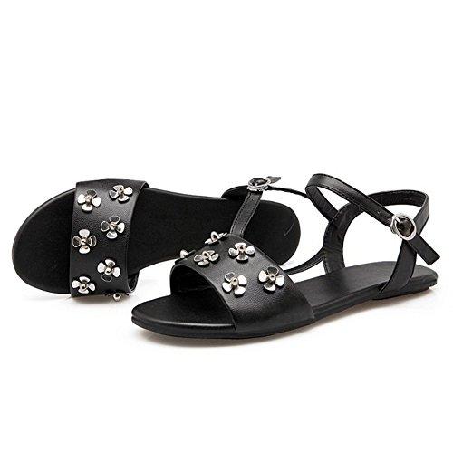 Sandals Plates TAOFFEN Detente Black Femmes 1wEERgqS