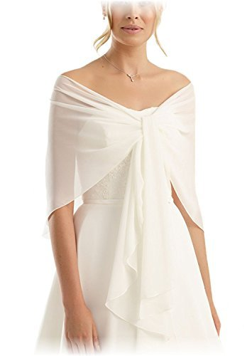 The Stunning Bride Chiffon Bridal or Evening Circular Stole Shawl Wrap - Special Circular Shape Prevents Sliding Off - Perfect for Wedding Dress or Evening Prom Dress Ball Gown - IVORY