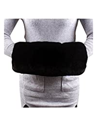 Bridal Warm Faux Fur Hand Muff Handmade For Winter Wedding Party (Black, Large)
