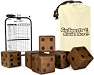 GoSports Giant Wooden Playing Dice Set with Bonus Rollzee and Farkle Scoreboard - Includes 6 Dice, Dry-Erase Scoreboard and
