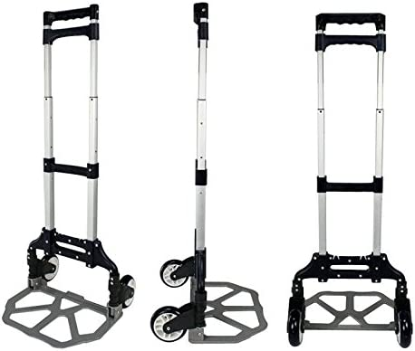 Strong Adjustable Aluminum Folding Hand Truck Luggage Cart Trolley with Telescoping Handle Retractable Wheels Fold Up Toe Plate Black Easy Weight Handling Perfect for Every Day Usage Load 176 Lbs