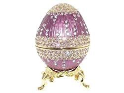 Faberge Style Egg Box Royal Purple Enamel with Swarovski Elements Crystal Figurine Trinket Pill Jewelry Box