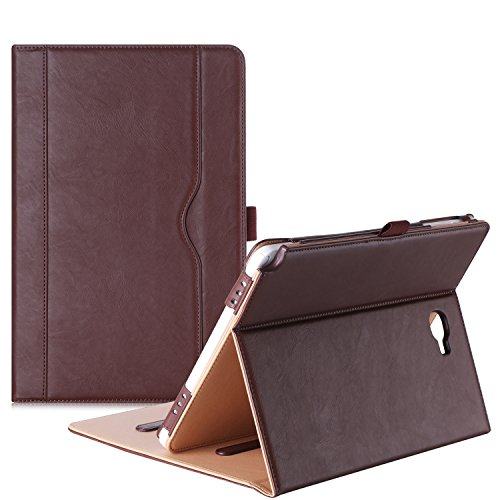 ProCase Samsung Galaxy Tab A 10.1 with S Pen Case - Stand Folio Case Cover for Galaxy Tab A 10.1 Inch Tablet with S Pen SM-P580, with Multiple Viewing Angles, Document Card Pocket - Brown