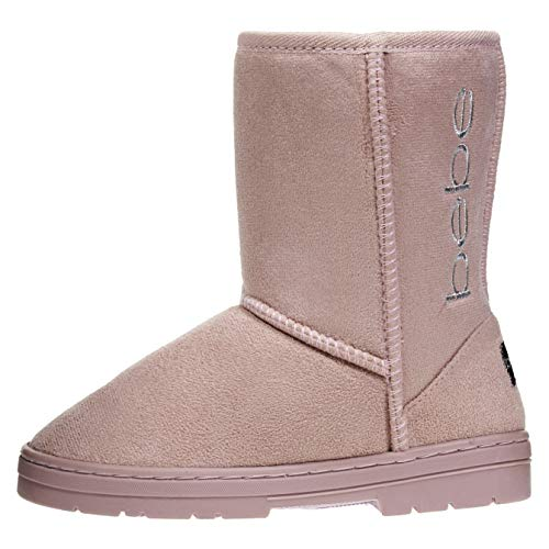 (bebe Girls Winter Boots Size 3 Designed with Side Logo Embroidery Casual Warm Slip-On Mid-Calf Microsuede Walking Snow Flat Shoes)