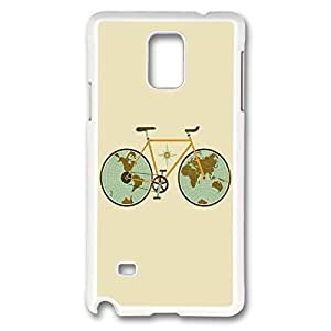 Galaxy Note 4 Case, Creativity Design Retro Bicycle Illustration Print Pattern Perfection Case [Anti-Slip Feature] [Perfect Slim Fit] Plastic Case Hard White Covers for Samsung Galaxy Note 4