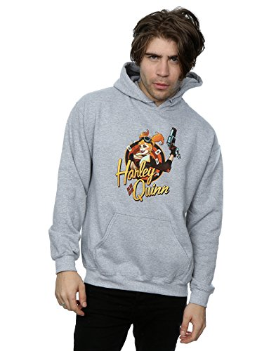 DC Comics Men's Bombshells Harley Quinn Badge Hoodie X-Large Heather Grey