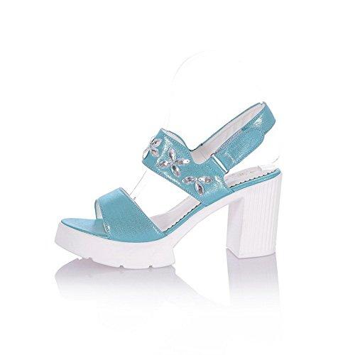Amoonyfashion Mujeres Hook & Loop Open Toe High Heels Pu Sandalias Sólidas Azul