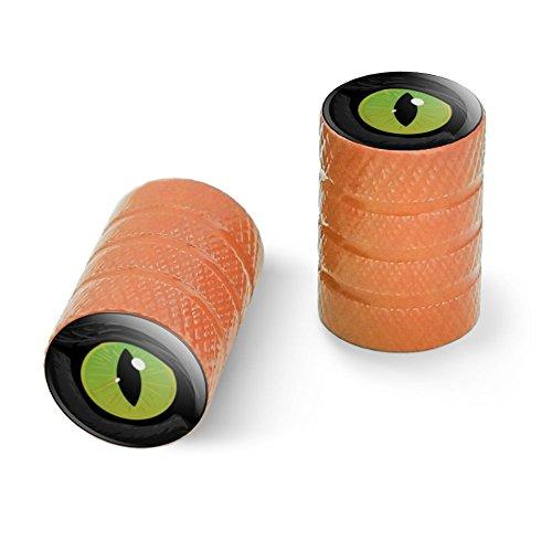オートバイ自転車バイクタイヤリムホイールアルミバルブステムキャップ - オレンジ猫の緑の目