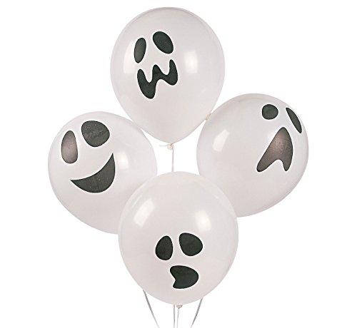 48 GHOST Face Latex BALLOONS HALLOWEEN Haunted House Party Decorations 11