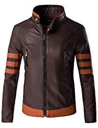 Jinmen Mens Brown Faux Leather Cruiser Jacket