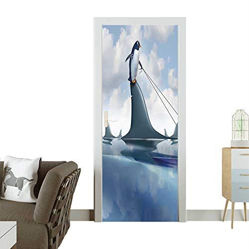 3D Photo Door Murals Management Leadership cept Penguin Shark Humor Blue Grey Dust Easy to Clean and applyW23 x H70 -