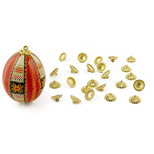 24 Gold Tone Ornament Caps - Egg Top Findings (Ornament Caps Christmas Replacement)
