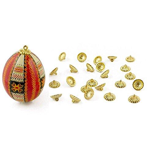 BestPysanky 24 Gold Tone Ornament Caps - Egg Top Findings