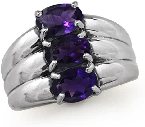 2.16ct. 3-Stone Natural African Amethyst 925 Sterling Silver Ring