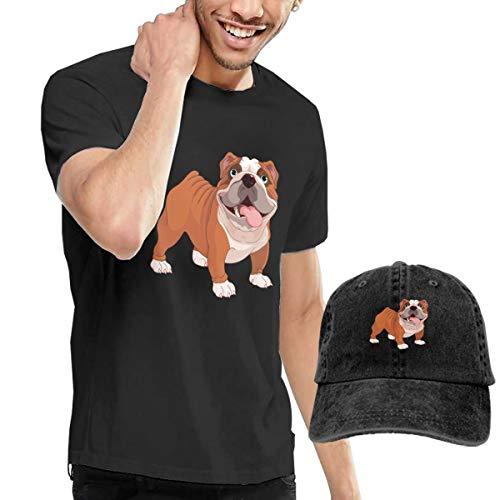 Nutmix Cute Pet Bulldog Men's Fashion Short Sleeve T Shirt and Adjustable Baseball Caps Costume Set -