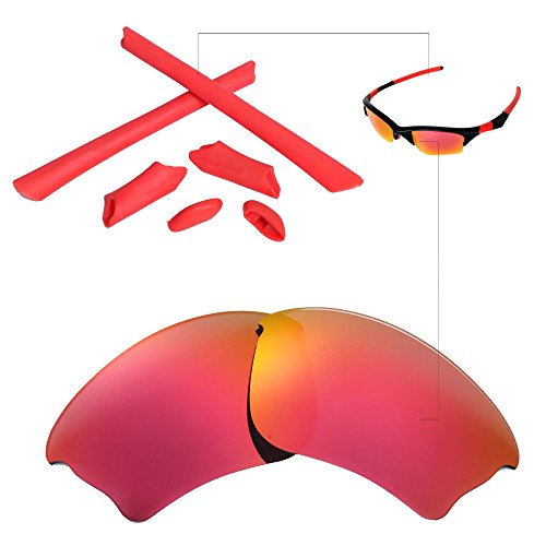 Walleva Replacement Lenses and Rubber for Oakley Half Jacket XLJ Sunglasses - 22 Options Available (Fire Red Polarized Lenses + Red Rubber)