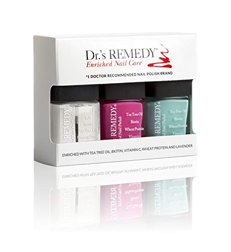 Dr.'s REMEDY Enriched Nail Polish, SENSATIONAL SUNSHINE TRIO 3Piece Boxed Set, Hopeful Hot Pink/Trusting Turquoise/Total Two-in-one