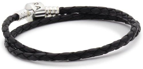 Pandora Lederarmband, zweifach gewickelt 590705CBK-D3 schwarz , 20,5cm