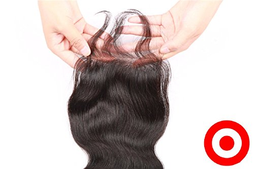 Cheap 7A Bleached Knots 18'' Silk Base Closure 4''x4'' Philippines Virgin Human Hair Body Wave Natural Colour by DaJun