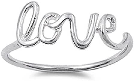 Sterling Silver Love in Script Wire Ring (Sizes 3-15)