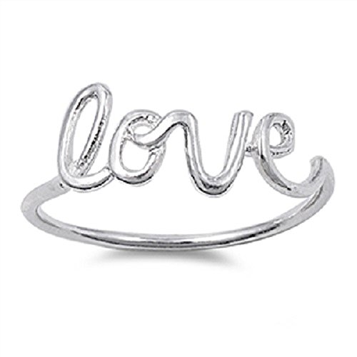 [Sterling Silver Love in Script Wire Ring Size 15] (Love Ring)