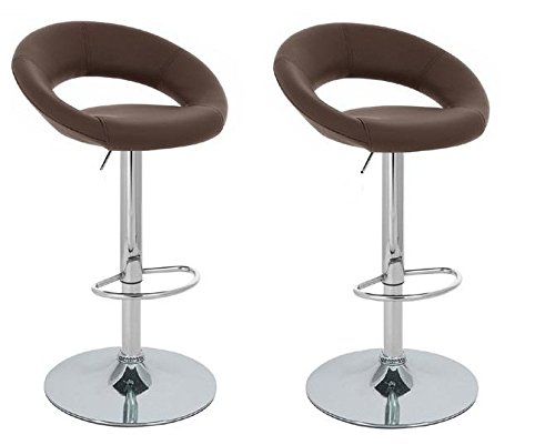 Brown Modern Adjustable Synthetic Leather Swivel Bar Stools Chairs B02-Sets of 2