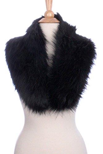 [LL Womens Slender Black Faux Fur Stole Hook Eye Closure] (Gatsby Outfits)