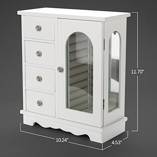 INART Wooden Jewelry Box Makeup and Accessories Organizer Girls Ring Storage with 4 Drawers and Swing Door, White Finish by INART (Image #6)