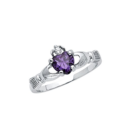 Wellingsale Ladies 925 Sterling Silver Polished Rhodium Simulated February Amethyst Color Heart CZ Irish Celtic Claddagh Ring, AAA Grade Highest Quality - Size 5