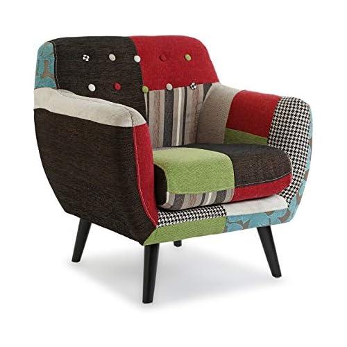 chollos oferta descuentos barato Versa 19500760 Butaca tapizada con reposabrazos Bl Gr Patchwork Poliéster Verde Beige Negro 76 x 63 x 68 cm