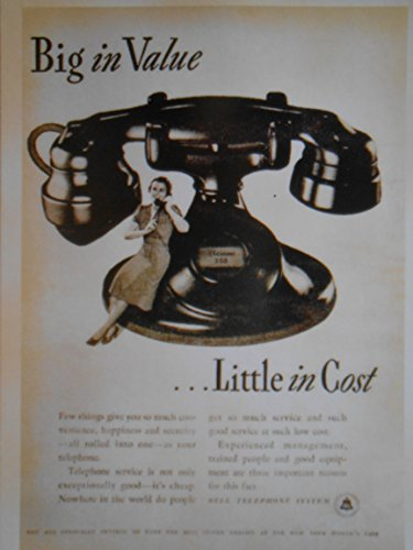 (Bell Telephone - Big in Value ... Little in Cost - Vintage Print Ad Postcard - ToJoy)