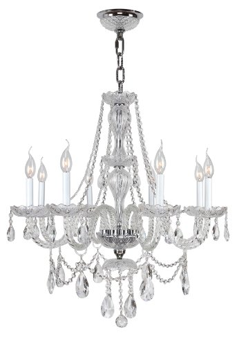 - Worldwide Lighting Provence Collection 8 Light Chrome Finish and Clear Crystal Chandelier 28
