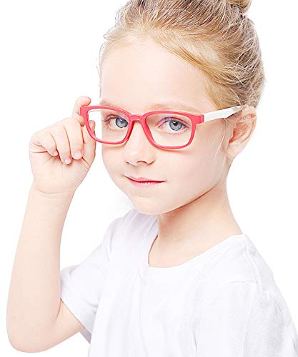 Kids Blue Light Glasses with Strap Computer and Gamer Eyewear Anti-Glare Protection Anti-Fatigue Anti UV Glasses for Smartphone Screens,Computer Or Tv Boys Girls Age 2-6 (Red and White Frame)