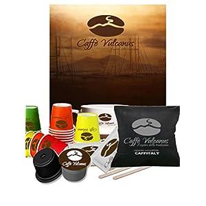 Caffè Vulcanus - 100 capsule Caffitaly compatibili - Miscela Napoli - Con kit accessori da 100