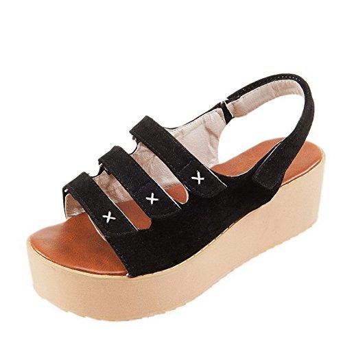 AllhqFashion Womens Kitten-Heels Soft Material Solid Hook-and-Loop Open Toe Flats-Sandals Black AvoLJHzP