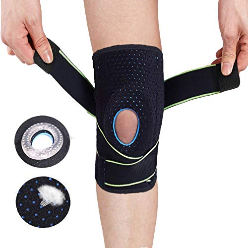 Lexniush Knee Brace Compression Sleeve - Adjustable Non-Slip Knee Braces for Men Women with Side Stabilizers & Gel Pad, Best Knee Support for Meniscus Tear, Arthritis, Pain Relief, Injury Recovery