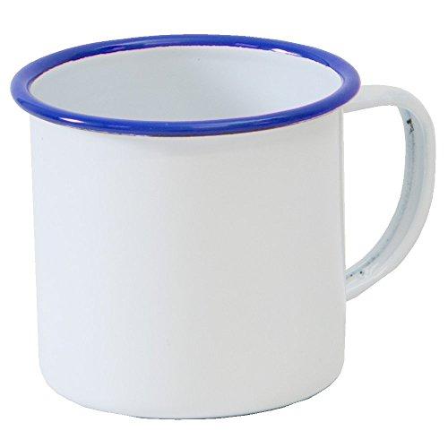 Enamelware Coffee Mug - Solid White with Blue Rim - Falcon Enamelware
