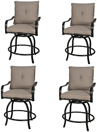 Rimba Outdoor Swivel Chairs Height Patio Counter Bar Stools with Beige Cushions Set of 4