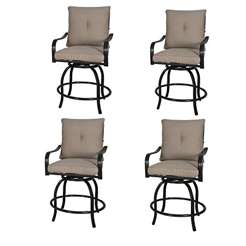 - Rimba Outdoor Swivel Chairs Height Patio Bar Stools with Beige Cushions (Set of 4)