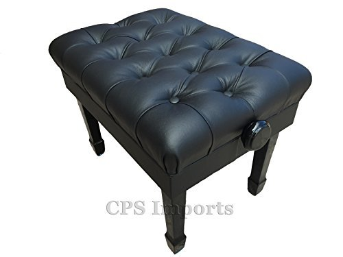 Adjustable Deluxe Pillow Top Genuine Leather Artist Concert Piano Bench Stool in Ebony Satin