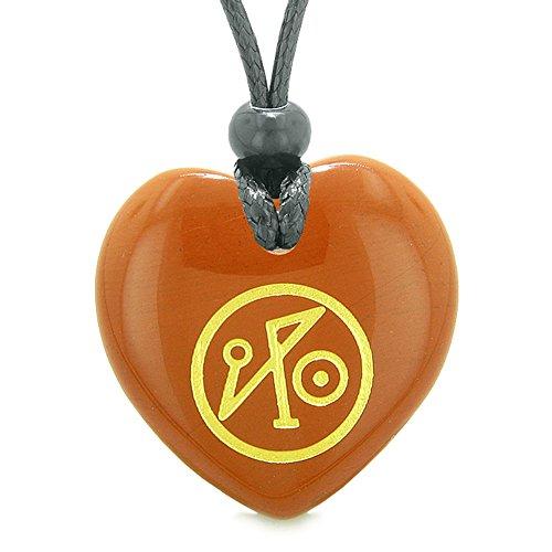 - Archangel Michael Sigil Magic Amulet Planet Energy Puffy Heart Red Jasper Pendant Adjustable Necklace