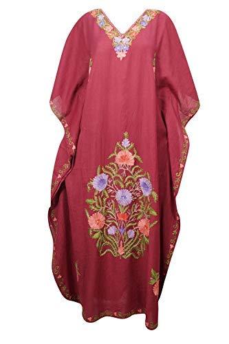 e6b3b7ea3cb Mogul Interior Women Caftan Maxi Dress Maroon Embroidered Bohemian House Kaftan  One Size: Amazon.co.uk: Clothing