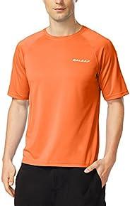 BALEAF Men's Swim Shirt Rashguard UV Sun Protection UPF 50+ Outdoor Short Sleeve Quick Dry Surf Shirt Clot