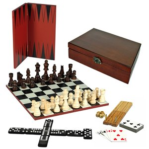 WE Games 7-Games-in-1 Combination Game Set - Chess, Checkers, Backgammon, Cribbage, Dominoes, Cards & Dice by Wood Expressions