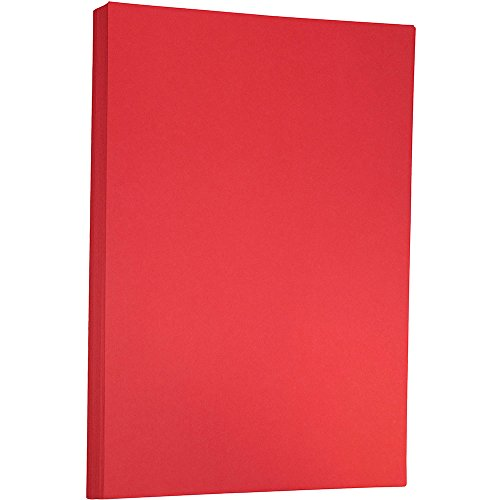 JAM PAPER Ledger Matte 24lb Paper - 11 x 17 Tabloid - Red Recycled - 100 Sheets/Pack