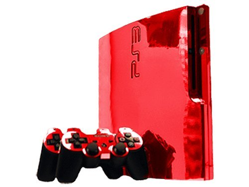 Red Chrome Mirror Vinyl Decal Faceplate Mod Skin Kit for Sony PlayStation 3 Slim Skin (PS3 Slim) Console by System Skins