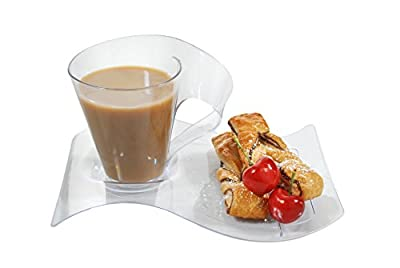 Modern-style Plastic Coffee Cups/Mugs and Saucers, set of 4